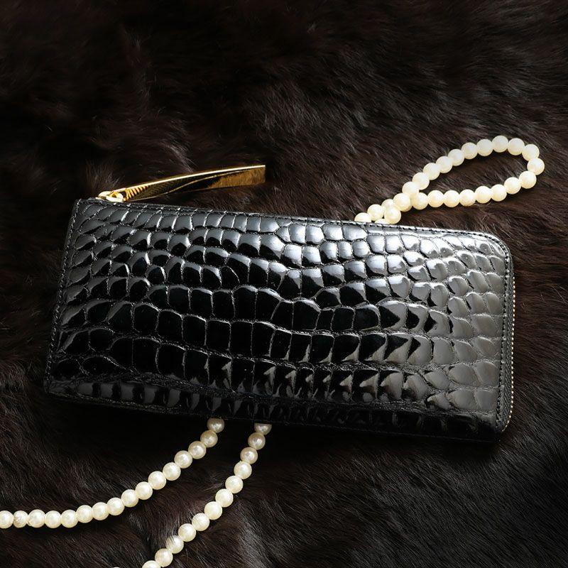 お金を引き寄せ守る黒い財布 池田工芸 ツヤクロコダイルL字ロングウォレット