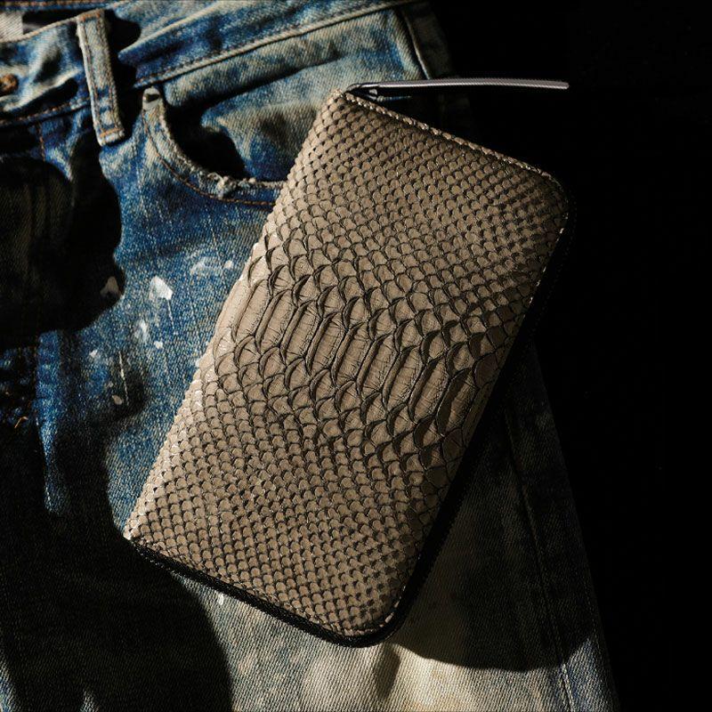 個性的で美しい模様が魅力の蛇革(パイソン)財布 池田工芸 DiamondPython LongWallet トゥルティエールグレー